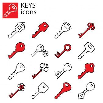Conjunto de iconos de llaves