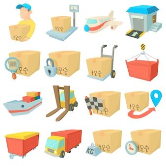 Conjunto de iconos de logística de carga