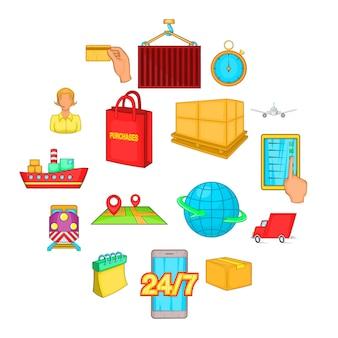 Conjunto de iconos de logística, estilo de dibujos animados