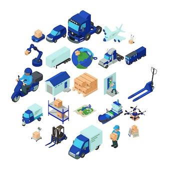 Conjunto de iconos logísticos y de entrega, estilo isométrico.