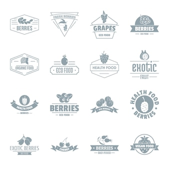 Conjunto de iconos de logo de bayas