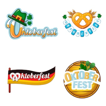 Conjunto de iconos del logo de la cerveza octoberfest