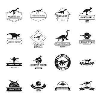 Conjunto de iconos de logo de dinosaurio