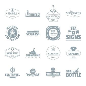 Conjunto de iconos de logo de mar náutico