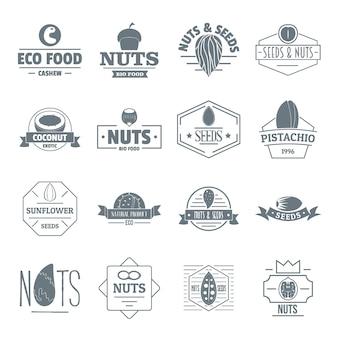 Conjunto de iconos de logo de semillas de nueces