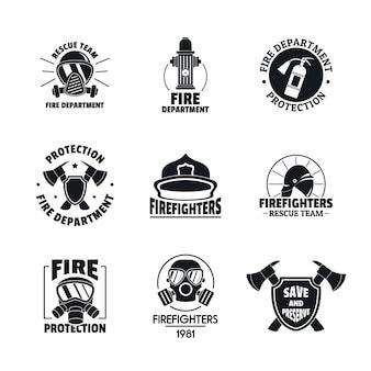 Conjunto de iconos de logotipo de bombero