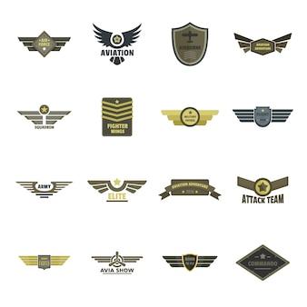 Conjunto de iconos de logotipo militar naval de la fuerza aérea