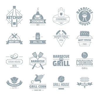 Conjunto de iconos de logotipo de parrilla de barbacoa