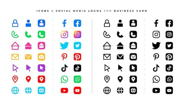 Conjunto de iconos y logotipos de redes sociales