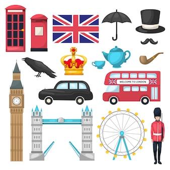 Conjunto de iconos de londres con diferentes atracciones, edificios reconocibles y medios de transporte