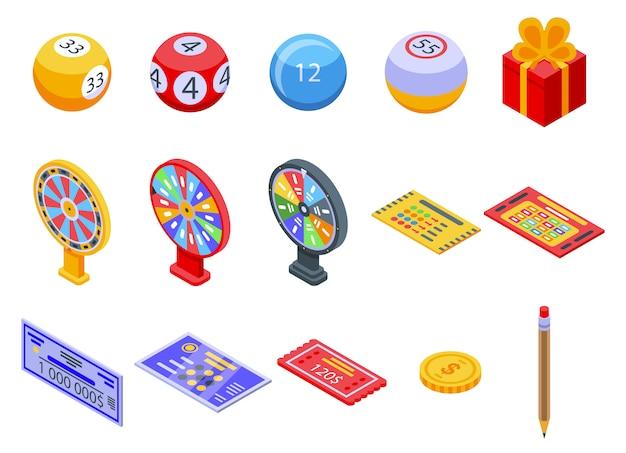 Conjunto de iconos de lotería, estilo isométrico