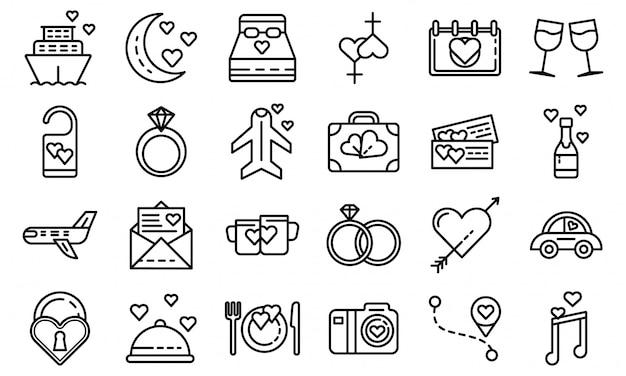 Conjunto de iconos de luna de miel, estilo de contorno