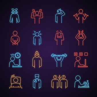 Conjunto de iconos de luz de neón de estrés emocional