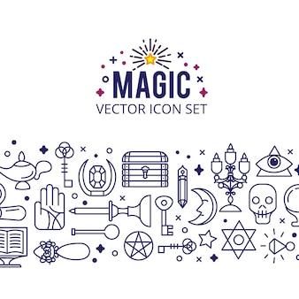 Conjunto de iconos mágicos. enciende luces mágicas. milagro misterioso