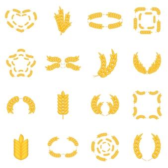 Conjunto de iconos de maíz de oreja