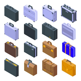 Conjunto de iconos de maletín. conjunto isométrico de iconos de maletín para web