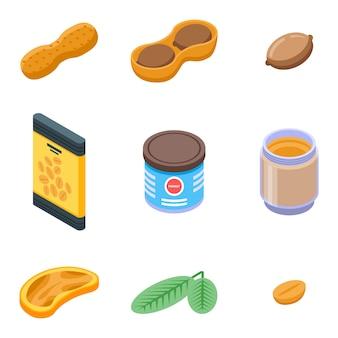 Conjunto de iconos de maní, estilo isométrico
