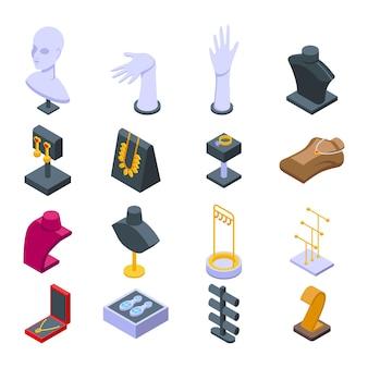 Conjunto de iconos de maniquí de joyería. conjunto isométrico de iconos de vector de maniquí de joyería para diseño web aislado sobre fondo blanco