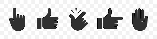 Conjunto de iconos de mano: clic, pulgar hacia arriba, ajustar, puntero, detener
