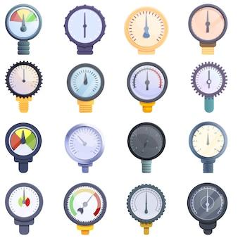 Conjunto de iconos de manómetro, estilo de dibujos animados