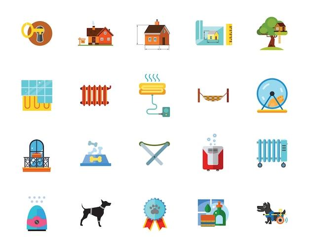 Conjunto de iconos de mantenimiento en el hogar
