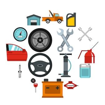 Conjunto de iconos de mantenimiento y reparación de automóviles, estilo plano