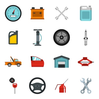 Conjunto de iconos de mantenimiento y reparación de coches