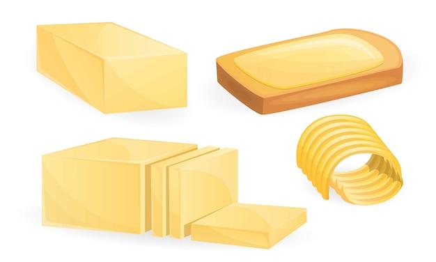 Conjunto de iconos de mantequilla, estilo de dibujos animados