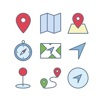 Conjunto de iconos de mapa