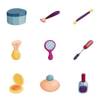 Conjunto de iconos de maquillaje, estilo de dibujos animados