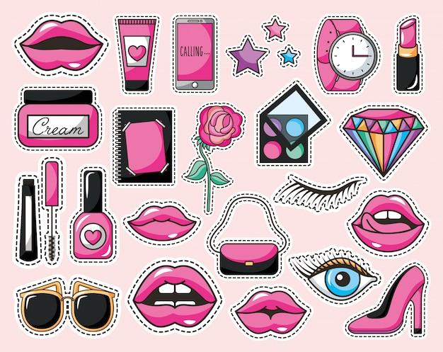 Conjunto de iconos de maquillaje estilo pop art