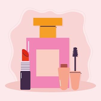 Conjunto de iconos de maquillaje sobre un fondo rosa