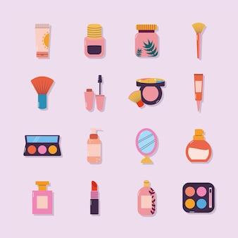 Conjunto de iconos de maquillaje sobre un fondo violeta claro