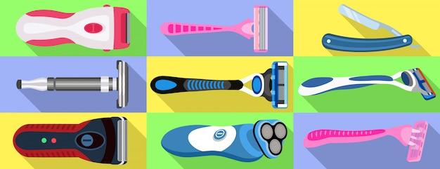 Conjunto de iconos de la máquina de afeitar. conjunto plano de vector de la máquina de afeitar
