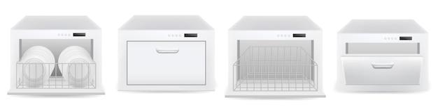 Conjunto de iconos de la máquina de lavavajillas. conjunto realista de iconos de vector de máquina lavavajillas para diseño web aislado sobre fondo blanco