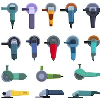 Conjunto de iconos de máquina de pulir. conjunto de dibujos animados de iconos de máquina de pulir para web