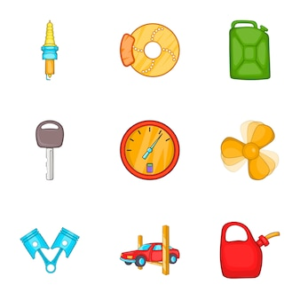Conjunto de iconos de máquina de reparación, estilo de dibujos animados