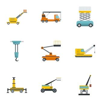 Conjunto de iconos de maquinaria de construcción, estilo de dibujos animados