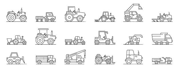 Conjunto de iconos de máquinas agrícolas, estilo de contorno