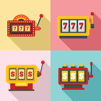 Conjunto de iconos de máquinas tragamonedas, estilo plano