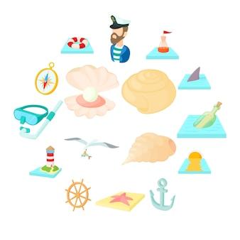 Conjunto de iconos de mar, estilo de dibujos animados