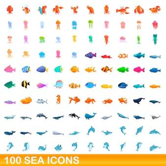 Conjunto de iconos de mar. ilustración de dibujos animados de iconos de mar en fondo blanco