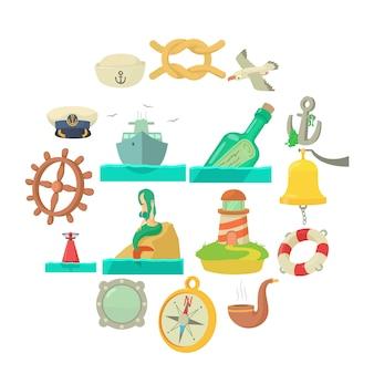 Conjunto de iconos de mar náutico, estilo de dibujos animados
