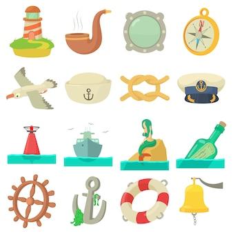 Conjunto de iconos de mar náutico