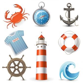 Conjunto de iconos de mar