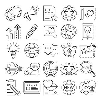 Conjunto de iconos de marca. esquema conjunto de iconos de vector de marca