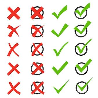 Conjunto de iconos de marca de verificación