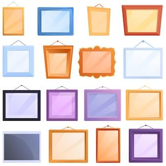 Conjunto de iconos de marco de foto, estilo de dibujos animados