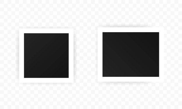 Conjunto de iconos de marcos de fotos, maqueta de marcos negros cuadrados realistas, conjunto de vectores plantilla para imagen, pintura, cartel, rotulación o galería de fotos. vector eps 10. aislado sobre fondo transparente.