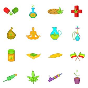 Conjunto de iconos de marihuana medicinal